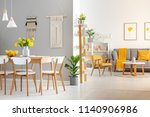 white wooden chairs at dining... | Shutterstock . vector #1140906986