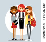 set of diverse college or... | Shutterstock .eps vector #1140907130