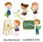 set of pupils in uniform. boy... | Shutterstock .eps vector #1140907193