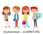 group of pupils standing... | Shutterstock .eps vector #1140907196