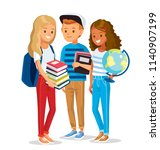 group of pupils standing... | Shutterstock .eps vector #1140907199