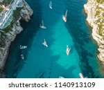 aerial above view yachts beach... | Shutterstock . vector #1140913109