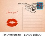 postcard. red lips and words i... | Shutterstock .eps vector #1140915800