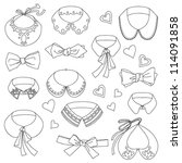 set of fashion collars and bows ... | Shutterstock .eps vector #114091858