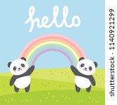 pandas love vector print  panda ... | Shutterstock .eps vector #1140921299