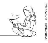 a girl reading a book one... | Shutterstock .eps vector #1140927263