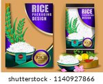 golden and purple rice package... | Shutterstock .eps vector #1140927866