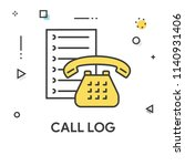 call log colored line icon | Shutterstock .eps vector #1140931406