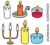 vector set of candle | Shutterstock .eps vector #1140945023