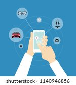 online shopping with smartphone.... | Shutterstock . vector #1140946856