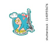 time to travel. girl. eiffel...   Shutterstock .eps vector #1140955676