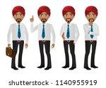 hindu businessman set | Shutterstock .eps vector #1140955919