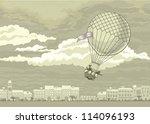 aerostat flying in the sky over ... | Shutterstock .eps vector #114096193