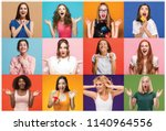 the collage of faces of... | Shutterstock . vector #1140964556