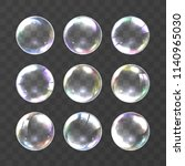 realistic soap bubble with... | Shutterstock .eps vector #1140965030