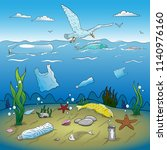 Water Plastic Pollution Vector...