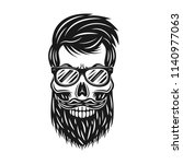 hipster skull with beard and... | Shutterstock .eps vector #1140977063