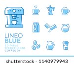 lineo blue   coffee line icons | Shutterstock .eps vector #1140979943
