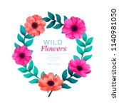 floral circle frame. tropical... | Shutterstock .eps vector #1140981050