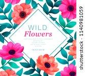 floral frame. tropical flowers... | Shutterstock .eps vector #1140981059