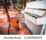old collapsed white piano   Shutterstock . vector #1140983699