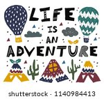 life is an adventure lettering. ... | Shutterstock .eps vector #1140984413