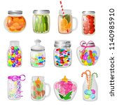 glass jar vector jam or sweet... | Shutterstock .eps vector #1140985910