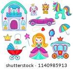 kids toys vector cartoon girlie ... | Shutterstock .eps vector #1140985913