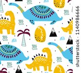 pattern with dino dinosaur.... | Shutterstock .eps vector #1140986666