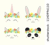 set of cute funny animal ... | Shutterstock .eps vector #1140996110