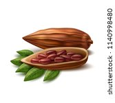 realistic cocoa beans.... | Shutterstock .eps vector #1140998480
