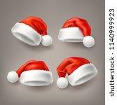 realistic santa hat  cap set.... | Shutterstock .eps vector #1140999923