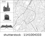brussels city map with hand... | Shutterstock .eps vector #1141004333