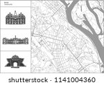 kyiv city map with hand drawn... | Shutterstock .eps vector #1141004360