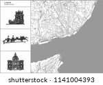 lisbon city map with hand drawn ... | Shutterstock .eps vector #1141004393