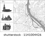 riga city map with hand drawn... | Shutterstock .eps vector #1141004426