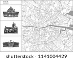 dublin city map with hand drawn ... | Shutterstock .eps vector #1141004429
