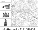 berlin city map with hand drawn ... | Shutterstock .eps vector #1141004450