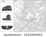 athens city map with hand drawn ... | Shutterstock .eps vector #1141004453