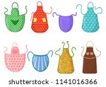 set of kitchen aprons with... | Shutterstock .eps vector #1141016366