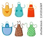 set of colorful kitchen aprons... | Shutterstock .eps vector #1141016369