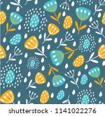 seamless pattern with leaves... | Shutterstock .eps vector #1141022276