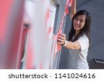 asian woman preparing for... | Shutterstock . vector #1141024616