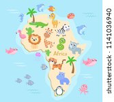 map of africa with animals for... | Shutterstock .eps vector #1141036940
