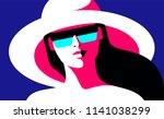 summer girl  female close up... | Shutterstock .eps vector #1141038299