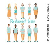 restaurant team. staff. flat... | Shutterstock .eps vector #1141040333