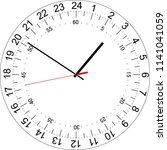 24 hours clock dial with the... | Shutterstock .eps vector #1141041059