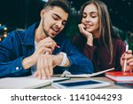 cheerful hipster guy showing...   Shutterstock . vector #1141044293