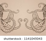 Vintage Card With Octopus And...