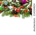 christmas background with balls ... | Shutterstock . vector #114104824